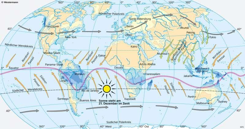 Erde | Niederschläge im Januar (Nordwinter/Südsommer) | Erde - Klimazonen und ihre Entstehung | Karte 172/3