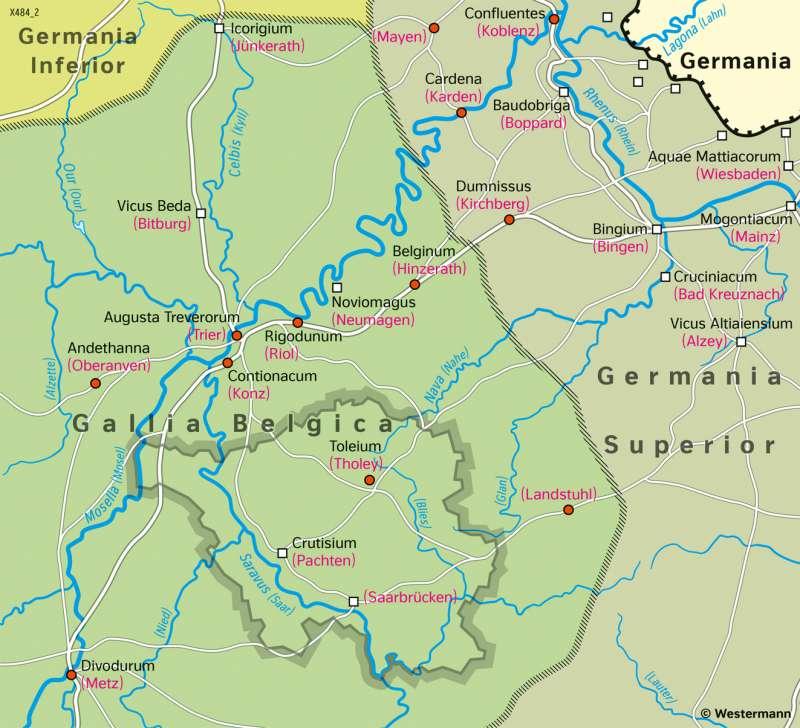 Saarland und Umgebung | Römerzeit um200n.Chr. | Saarland und Umgebung - Territorialgeschichte | Karte 26/1