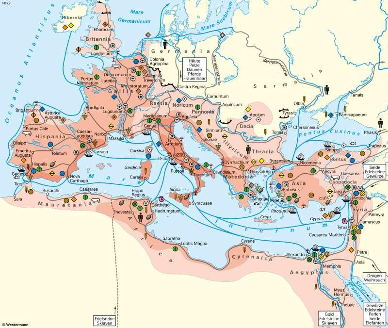 | Handel und Wirtschaft im Römischen Reich | Geschichte - Römisches Reich und Germanien | Karte 196/1