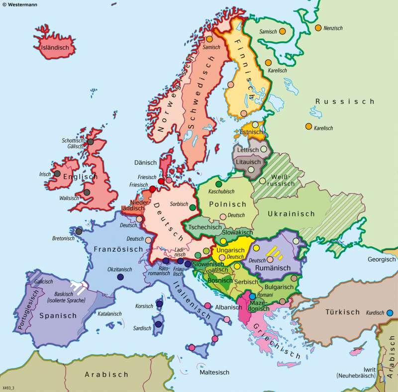 Europa | Staatssprachen und Sprachminderheiten | Europa - Staaten und Sprachen | Karte 61/3