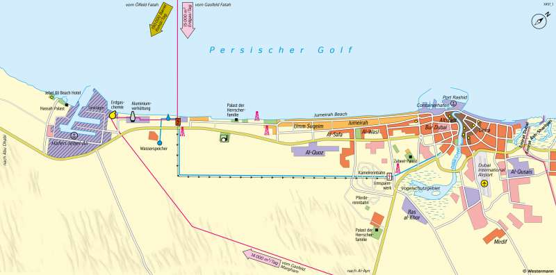 Dubai | Ausbau zur Tourismus-Metropole | Westasien - Wirtschaft | Karte 118/1