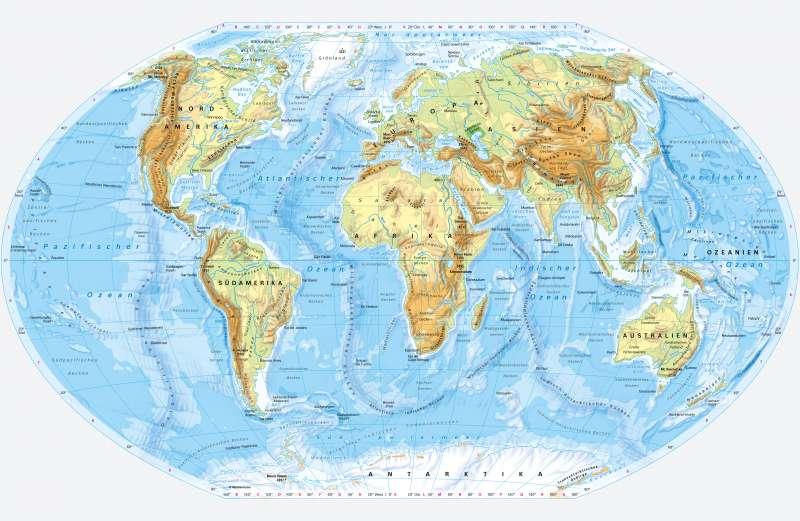 Erde | PhysischeÜbersicht | Erde - PhysischeÜbersicht | Karte -2/1