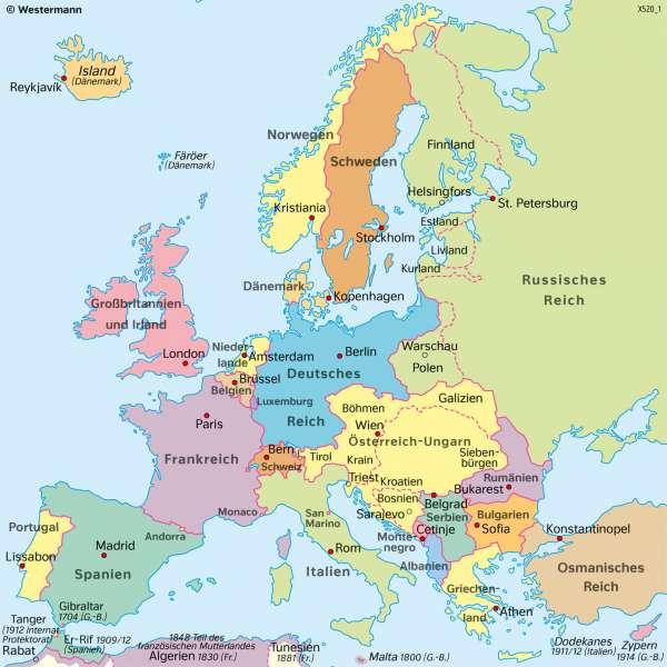 Europa | 1914 (vor dem ErstenWeltkrieg) | Geschichte - Territorialer Wandel in Europa von 1914 bis 1949 | Karte 214/1