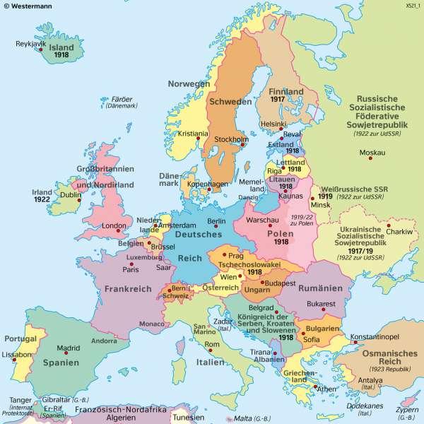 Europa | 1920/1921 (nach dem ErstenWeltkrieg) | Geschichte - Territorialer Wandel in Europa von 1914 bis 1949 | Karte 214/2
