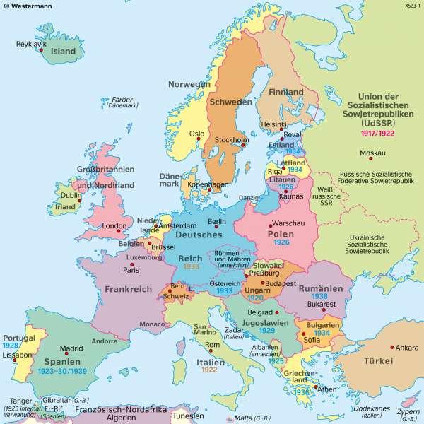Europa | 1939 (vor dem ZweitenWeltkrieg) | Geschichte - Territorialer Wandel in Europa von 1914 bis 1949 | Karte 215/4