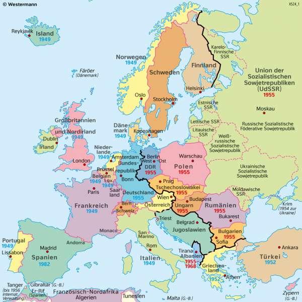 Europa | 1949 (nach dem ZweitenWeltkrieg) | Geschichte - Territorialer Wandel in Europa von 1914 bis 1949 | Karte 215/5