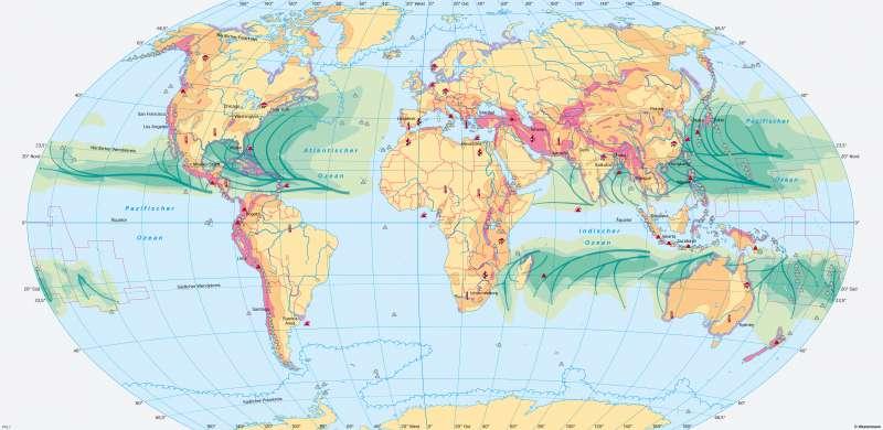 Erde | Naturgefahren und Naturrisiken | Erde - Naturrisiken und Klimawandel | Karte 170/1