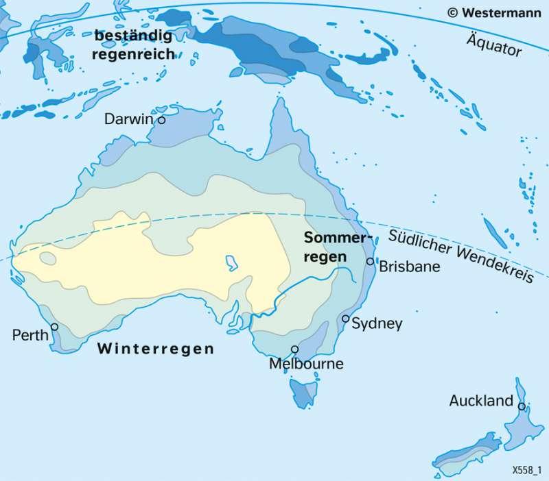 Australien und Neuseeland | NiederschlägeimJahr | Australien und Neuseeland - Wirtschaft und Naturraum | Karte 138/2