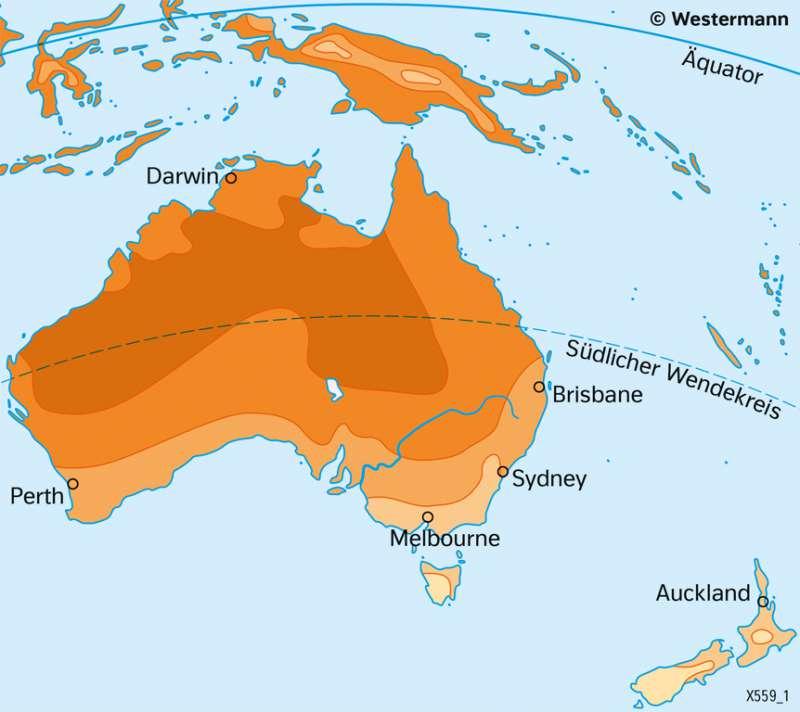 Australien und Neuseeland | TemperaturenimJanuar | Australien und Neuseeland - Wirtschaft und Naturraum | Karte 138/3