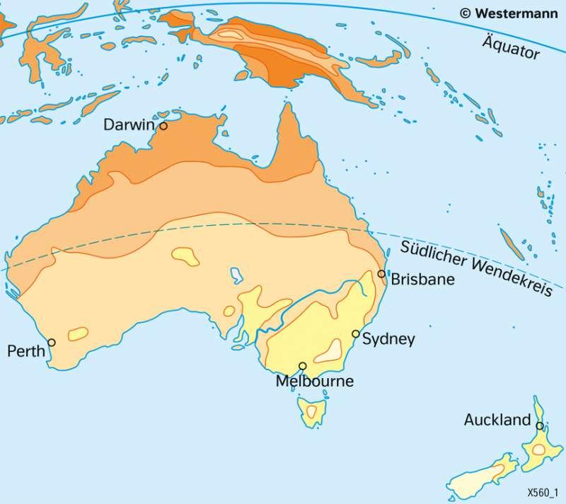 Australien und Neuseeland | TemperaturenimJuli | Australien und Neuseeland - Wirtschaft und Naturraum | Karte 138/4