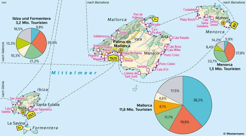Balearen (Spanien) | Tourismus | Europa - Tourismus | Karte 85/2