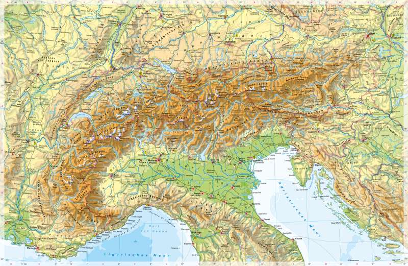 Alpen | PhysischeKarte | Alpen - PhysischeKarte | Karte 56/1