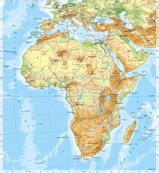 Afrika | PhysischeÜbersicht | Afrika - Orientierung | Karte 120/3