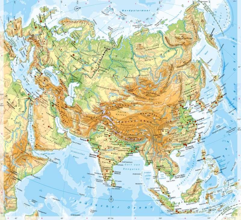 Asien | PhysischeÜbersicht | Eurasien - Orientierung | Karte 96/3