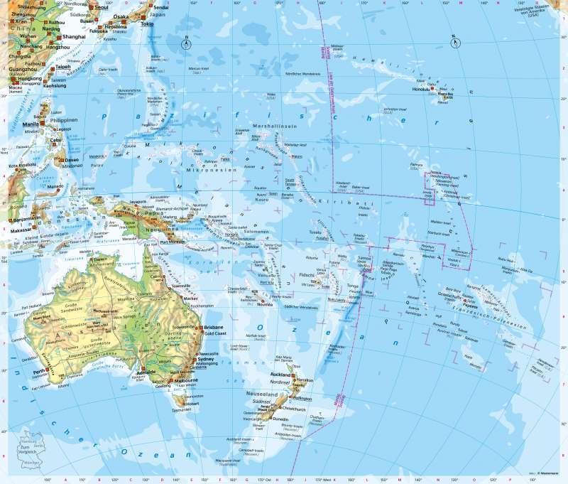 Ozeanien | PhysischeÜbersicht | Australien/Ozeanien - Orientierung | Karte 137/1
