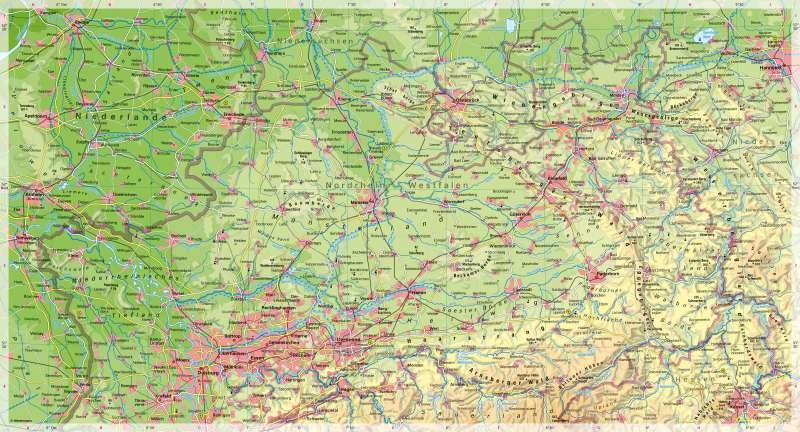 Nordrhein-Westfalen(nördlicherTeil) | Physische Karte | Nordrhein-Westfalen (nördlicher Teil) - Physische Karte | Karte 14/1