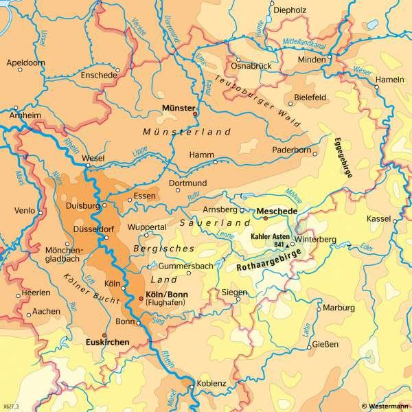 Nordrhein-Westfalen | Temperaturen im Jahr | Nordrhein-Westfalen - Klima und Landwirtschaft | Karte 18/1