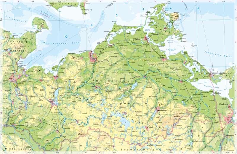 Karte Seen Mecklenburgische Seenplatte.Diercke Weltatlas Kartenansicht Mecklenburg Vorpommern