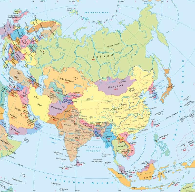 Politische Karte Asien.Diercke Weltatlas Kartenansicht Asien Politische übersicht