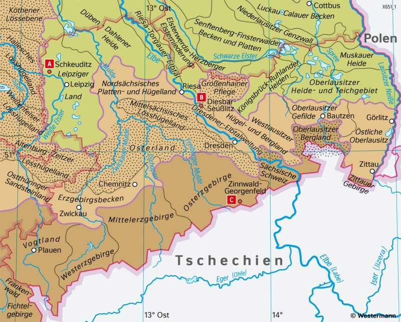 Sachsen   Naturräume   Sachsen - Naturfaktoren und Landwirtschaft   Karte 16/3