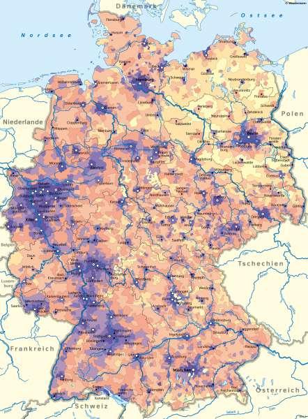 Deutschland | Bevölkerungsverteilung | Deutschland - Bevölkerung | Karte 48/1
