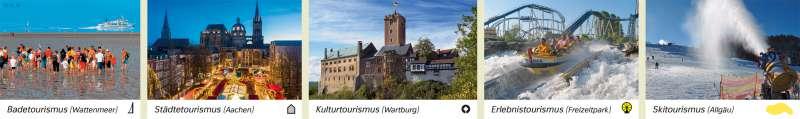 | Badetourismus (Wattenmeer)/Städtetourismus (Aachen)/Kulturtourismus (Wartburg)/Erlebnistourismus (Freizeitpark)/Skitourismus (Allgäu) | Deutschland - Tourismus und Naturschutz | Karte 52/1