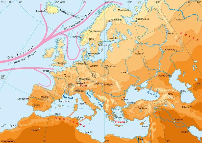 Europa | TemperaturenimJuli | Europa - Klima | Karte 74/2