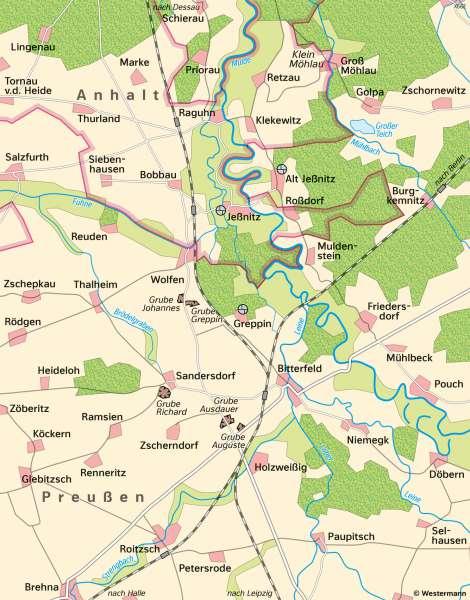 Bitterfeld-Wolfen | Landschaftswandel | Bitterfeld-Wolfen - Räume im Wandel | Karte 26/1