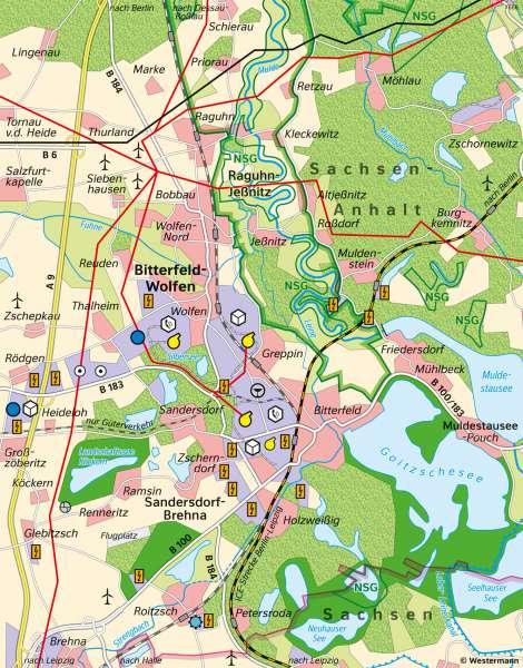 Bitterfeld-Wolfen | Landschaftswandel | Bitterfeld-Wolfen - Räume im Wandel | Karte 27/1