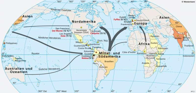 Erde | Bananenproduktion und Bananenhandel | Südamerika - Landwirtschaft | Karte 161/5