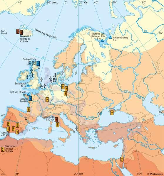 Europa | Erneuerbare Energiereserven | Europa - Verkehr und Energie | Karte 89/4