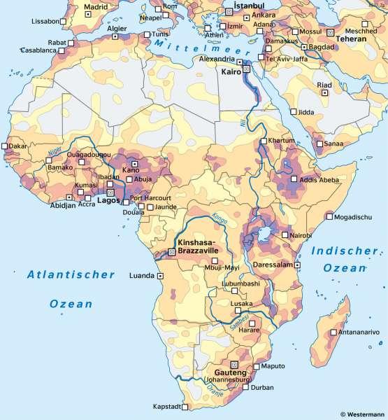 Afrika | Bevölkerungsverteilung | Afrika - Staaten und Bevölkerung | Karte 123/2
