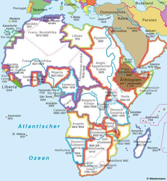 Afrika | Kolonialismus | Afrika - Staaten und Bevölkerung | Karte 123/4