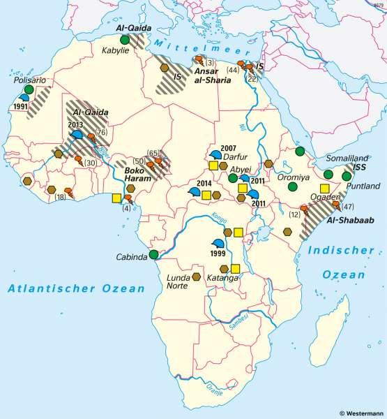 Afrika | Konflikte | Afrika - Staaten und Bevölkerung | Karte 123/5