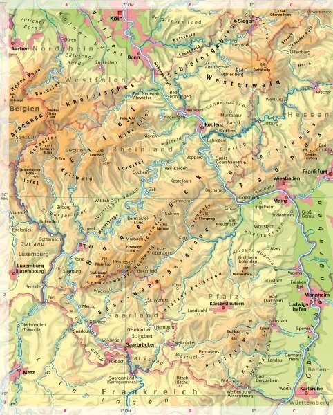 Rheinland-Pfalz | Physische Übersicht | Rheinland-Pfalz - Vom Bild zur Karte | Karte 7/4