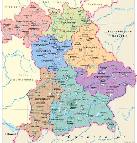 regierungsbezirke bayern karte mit hauptstädte Diercke Weltatlas   Kartenansicht   Verwaltungsgliederung     978