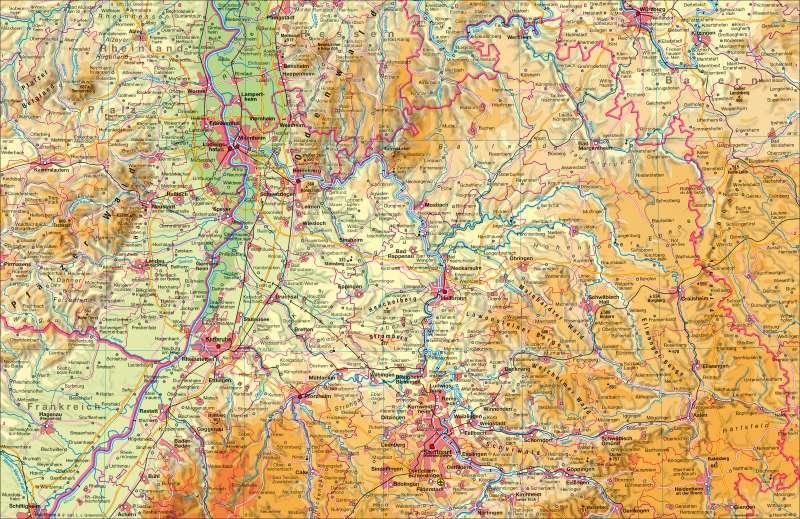 Baden-Württemberg physisch | nördlicher Teil | Baden-Würrtemberg physisch - nördlicher Teil | Karte 4/1