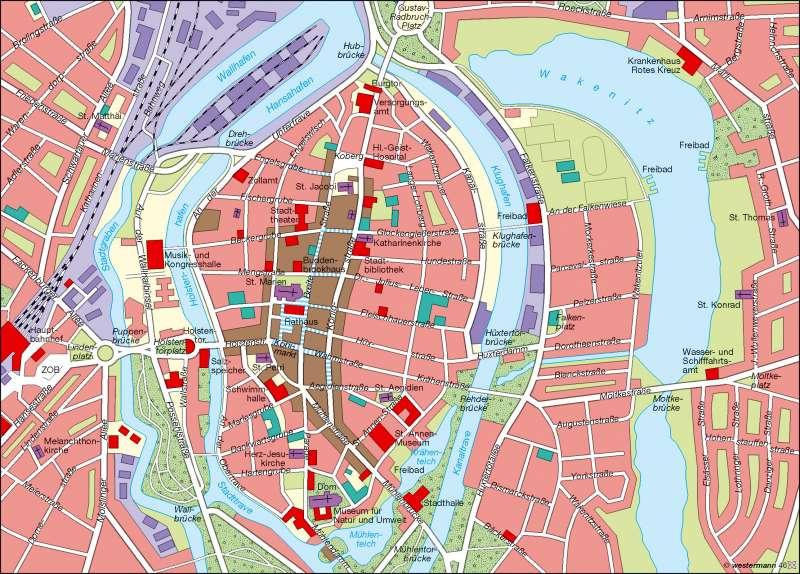 Karte Lübeck.Diercke Weltatlas Kartenansicht Weltkulturerbe Lübeck 978 3