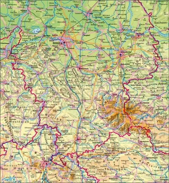 Diercke Weltatlas Kartenansicht Niedersachsen Physisch