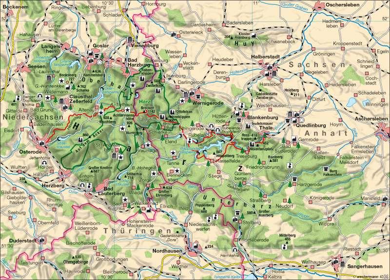 mittelgebirge karte Diercke Weltatlas   Kartenansicht   Mittelgebirge Harz     978 3
