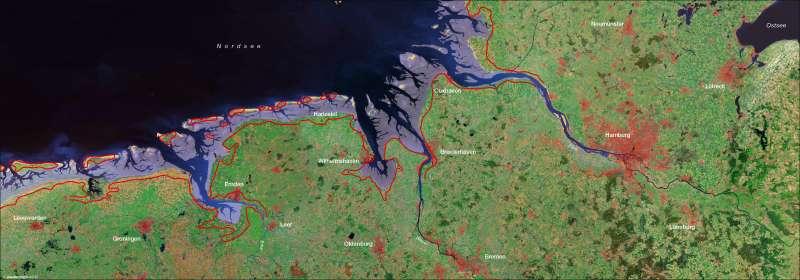 Nordseküste | Satellitenbild | Nordseeküste - Fremdenverkehr/Landgewiinung | Karte 12/1