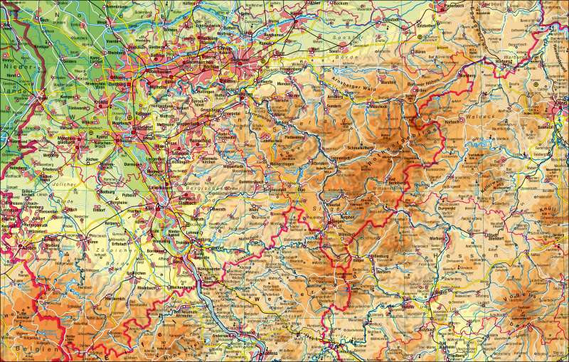 Nordrhein-Westfalen   physisch (südlicher Teil)   Nordrhein-Westfalen - physisch (südlicher Teil)   Karte 6/1