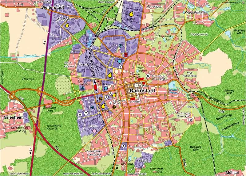 Diercke Weltatlas Kartenansicht Darmstadt Wirtschaft Und