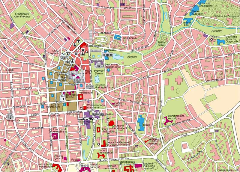 Wiesbaden Karte.Diercke Weltatlas Kartenansicht Landeshauptstadt Wiesbaden
