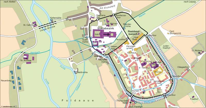 Fulda um 1500 | mittelalterliche Bebauung | Stadtentwicklung | Karte 12/1