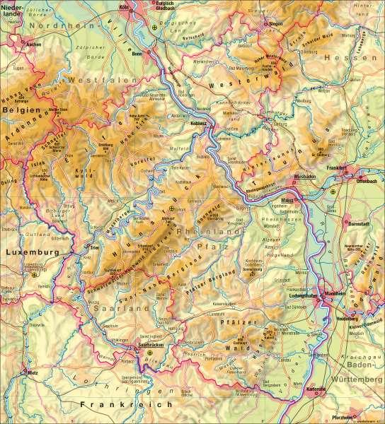 Hunsrück Hochwald Karte.Diercke Weltatlas Kartenansicht Landschaften Physische