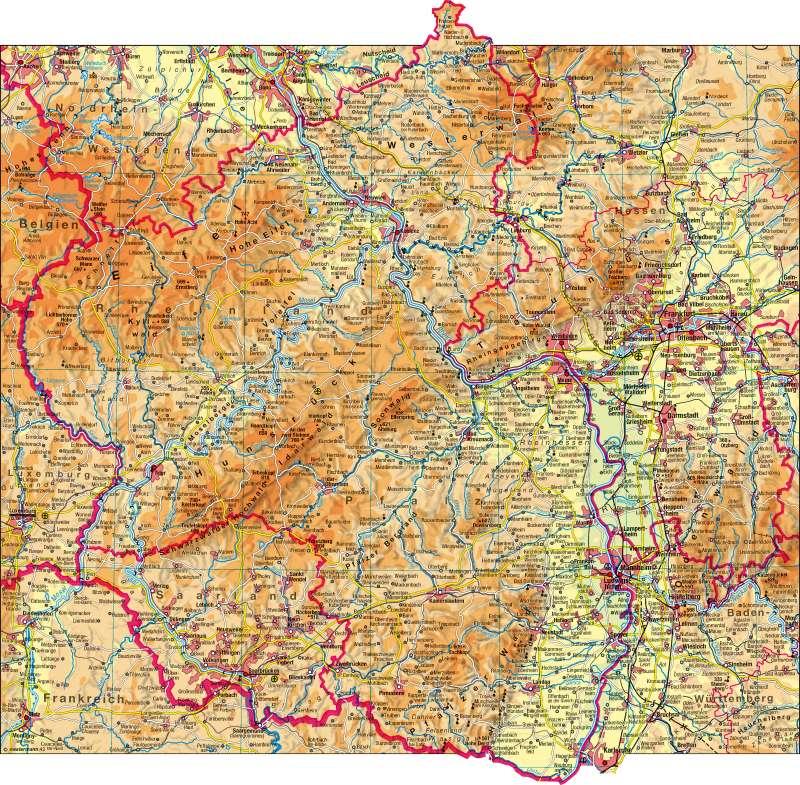 Rheinland-Pfalz/Saarland | physisch | Rheinland-Pfalz/Saarland - physisch | Karte 4/1