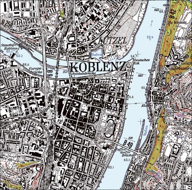 Höhenmeter Karte Deutschland.Diercke Weltatlas Kartenansicht Topographische Karte 1 25000