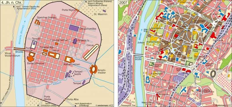 Trier im 4. Jahrhundert n. Chr. und 2007 |  | Tourismus | Karte 8/2