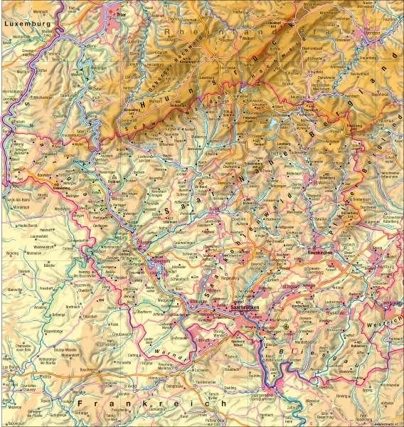 Saarland | physisch | Saarland - physisch | Karte 12/1